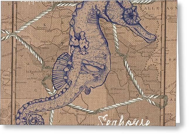 Burlap Seahorse Greeting Card by Debbie DeWitt