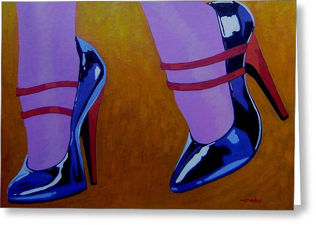 Racy Greeting Cards - Burlesque Shoes Greeting Card by John  Nolan