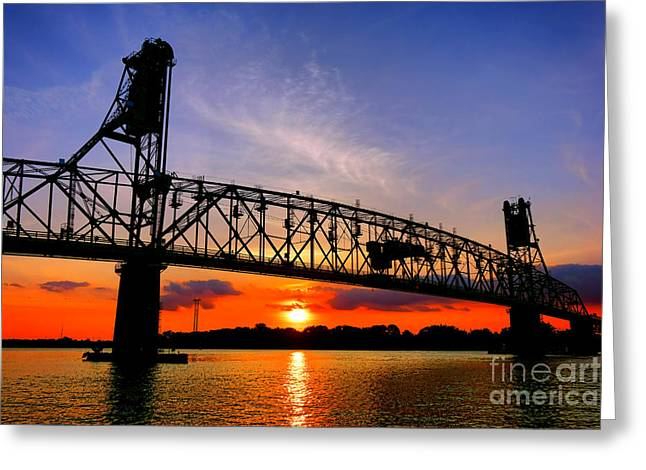 Burlington Bristol Bridge Sunset  Greeting Card by Olivier Le Queinec