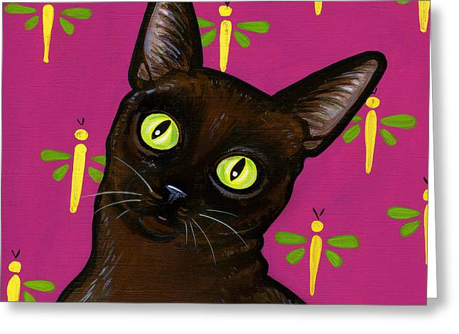 Cat Breeds Portraits Greeting Cards - Burmese Best Greeting Card by Leanne Wilkes