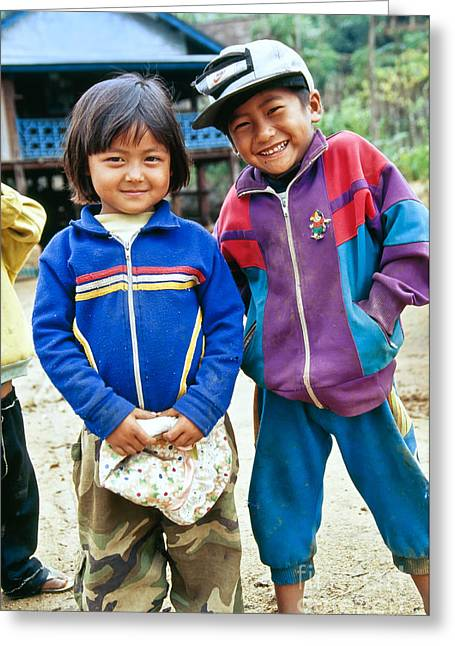 Nike Greeting Cards - Burmese Brother & Sister Greeting Card by Inga Spence