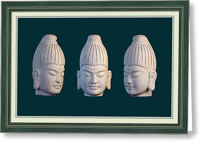 Granite Sculptures Greeting Cards - Burmese greeting card 2 Greeting Card by Terrell Kaucher