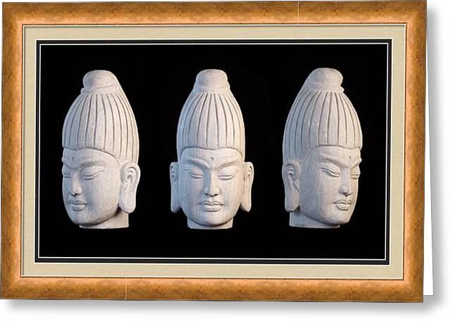 Buddhism Sculptures Greeting Cards - Burmese greeting card 1 Greeting Card by Terrell Kaucher