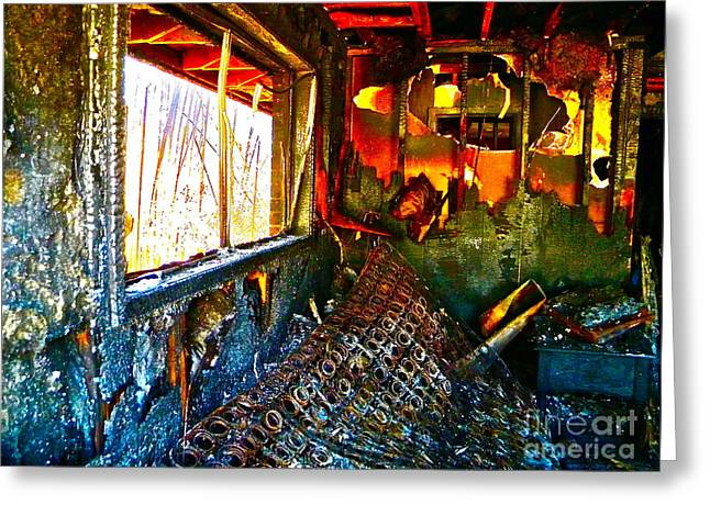 House Fires Greeting Cards - Burned Greeting Card by Chuck Taylor