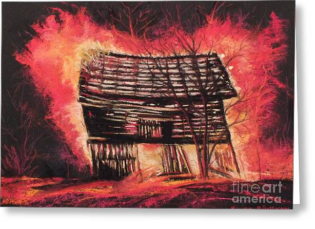 Dilapidated Pastels Greeting Cards - Burning Barn Greeting Card by Laura Sullivan