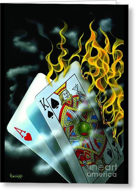 Las Vegas Paintings Greeting Cards - Burning Blackjack Greeting Card by Michael Godard