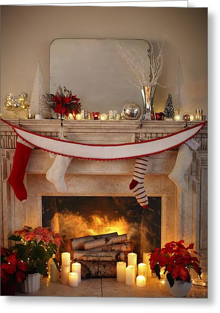 Candle Lit Greeting Cards - Burning Fireplace With Christmas Decor Greeting Card by Gillham Studios