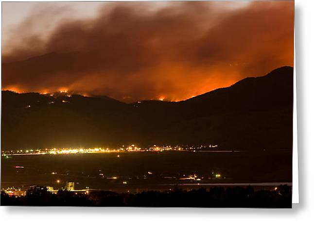 Colorado Wildfires Greeting Cards - Burning Foothills Above Boulder Fourmile Wildfire Panorama Greeting Card by James BO  Insogna