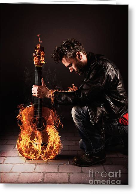 Artist Photographs Greeting Cards - Burning Guitar Greeting Card by Andreas Berheide