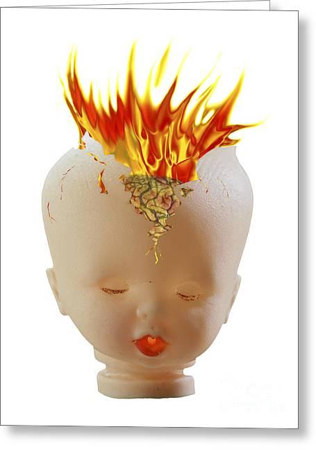 Detonating Greeting Cards - Burning Head Greeting Card by Michal Boubin