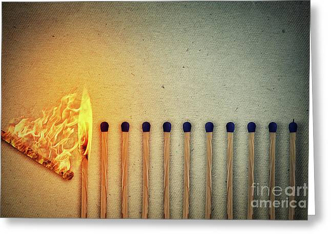 Burning Matches Greeting Card by Psycho Shadow