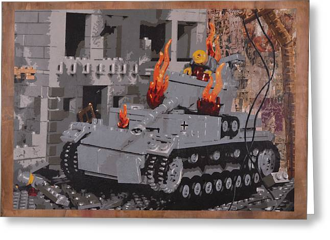 Lego Mixed Media Greeting Cards - Burning Panzer IV Greeting Card by Josh Bernstein