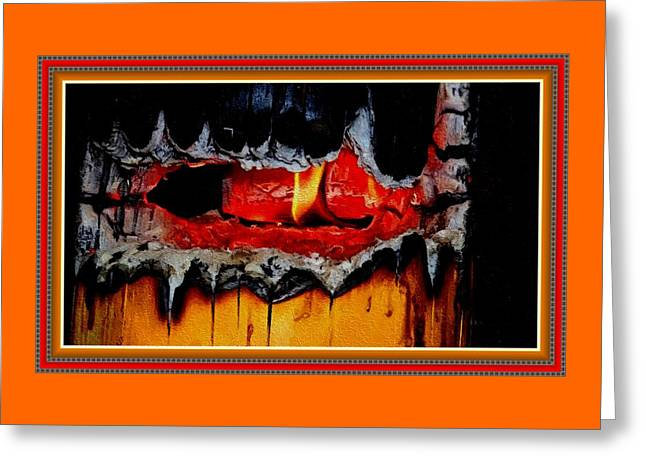 Burning Stump H B With Decorative Ornate Printed Frame. Greeting Card by Gert J Rheeders