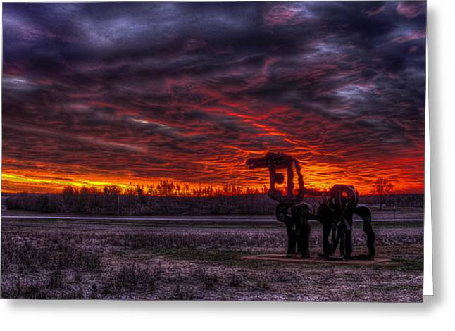 Burning Sunset The Iron Horse Greeting Card by Reid Callaway