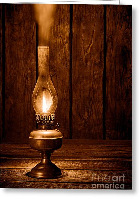 Burning The Midnight Oil - Sepia Greeting Card by Olivier Le Queinec