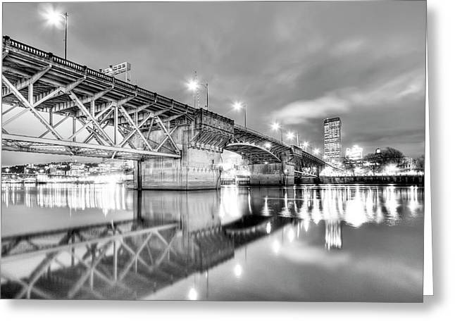 Black And White Hdr Greeting Cards - Burnside Bridge Portland Oregon at Night Greeting Card by Dustin K Ryan