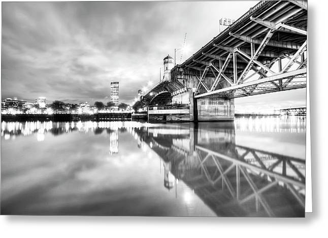 Willamette Greeting Cards - Burnside Bridge Willamette River Portland Oregon Greeting Card by Dustin K Ryan