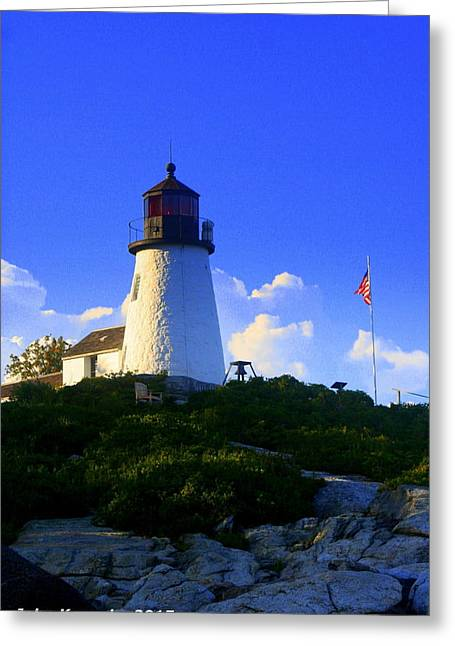 Old Maine Houses Greeting Cards - Burnt Island Light and American Flag 3 Greeting Card by John Kenealy