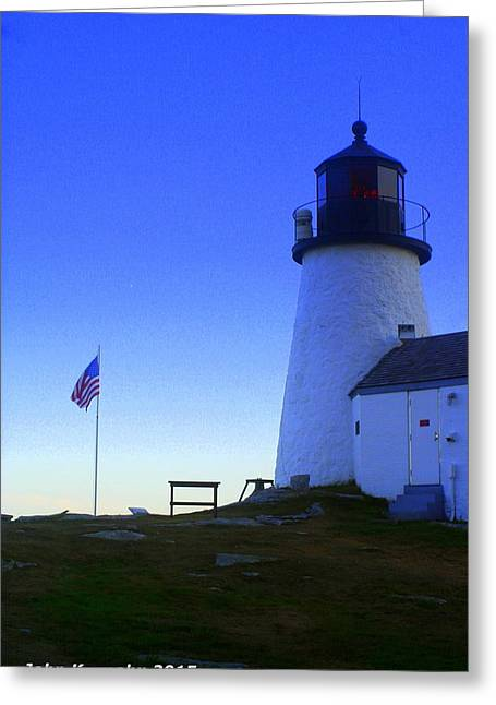 Old Maine Houses Greeting Cards - Burnt Island Light and American Flag 4 Greeting Card by John Kenealy