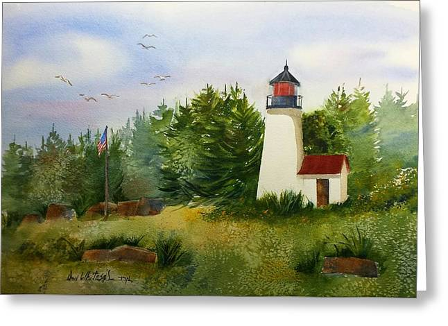 First Love Greeting Cards - Burnt Island Lighthouse Boothbay Maine Greeting Card by Don Whitesel