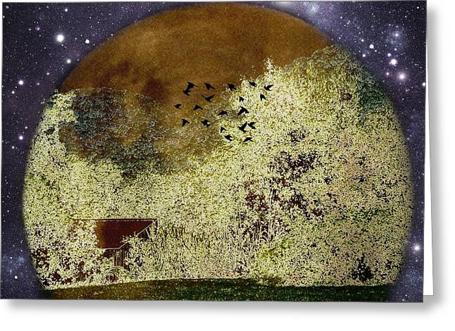 Super Stars Greeting Cards - Burnt Moon Over A Farm in the Blue Ridge Mountains Greeting Card by Kathy Barney