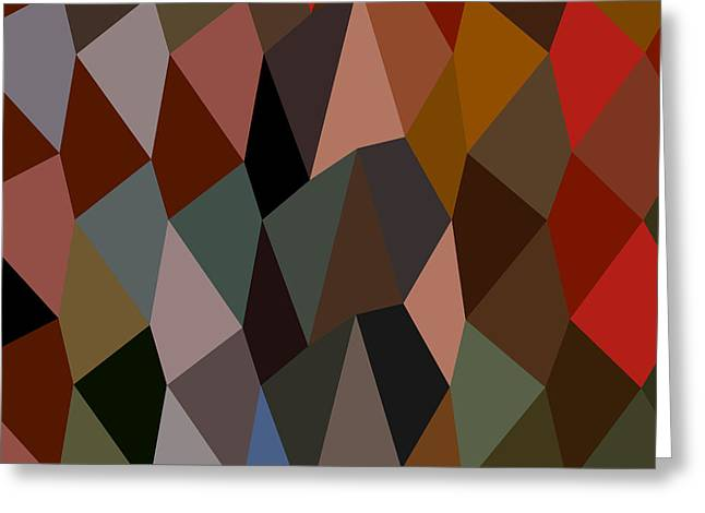 Burnt Umber Greeting Cards - Burnt Umber Abstract Low Polygon Background Greeting Card by Aloysius Patrimonio