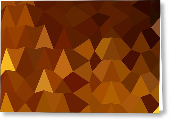 Burnt Umber Greeting Cards - Burnt Umber Brown Abstract Low Polygon Background Greeting Card by Aloysius Patrimonio