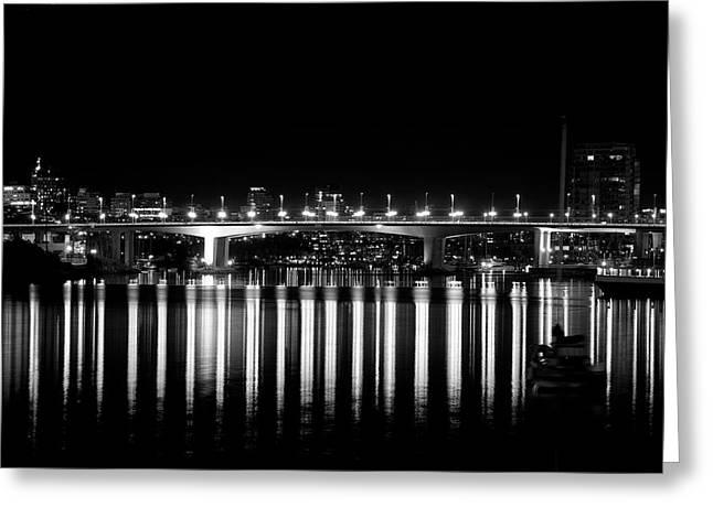 Vancouver Night Scene Greeting Cards - Burrard Street Bridge  Greeting Card by Barbara  White