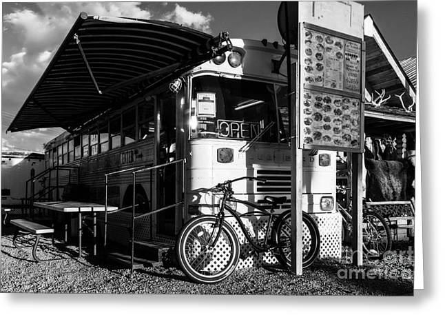 West Yellowstone Greeting Cards - Burrito Bus BW Greeting Card by Mel Steinhauer