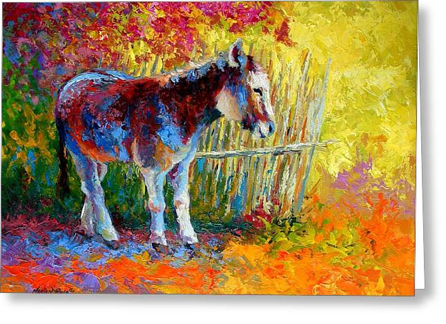 Burro And Bouganvillia Greeting Card by Marion Rose