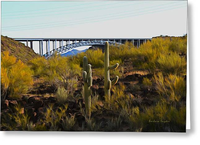 Burros Greeting Cards - Burro Creek Bridge 2 Greeting Card by Barbara Snyder
