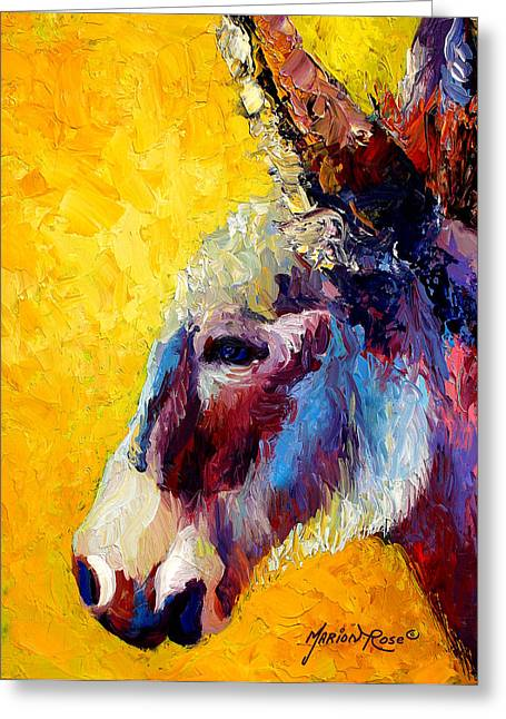 Donkey Greeting Cards - Burro Study II Greeting Card by Marion Rose