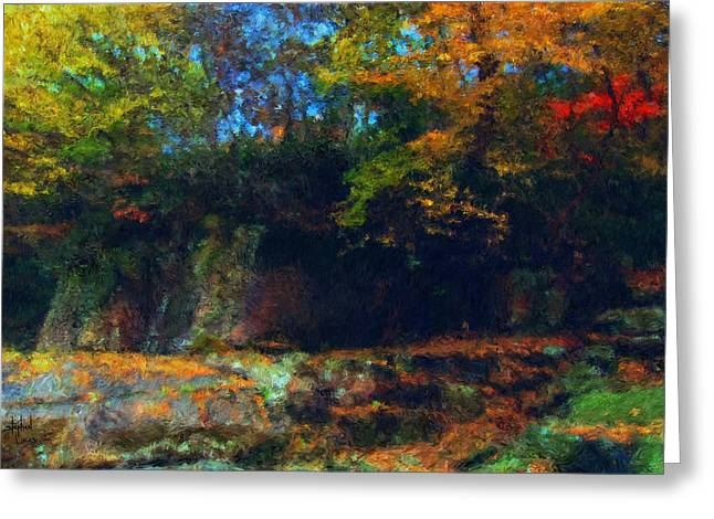 Impressionism Mixed Media Greeting Cards - Bursting Autumn Cheer Greeting Card by Stephen Lucas