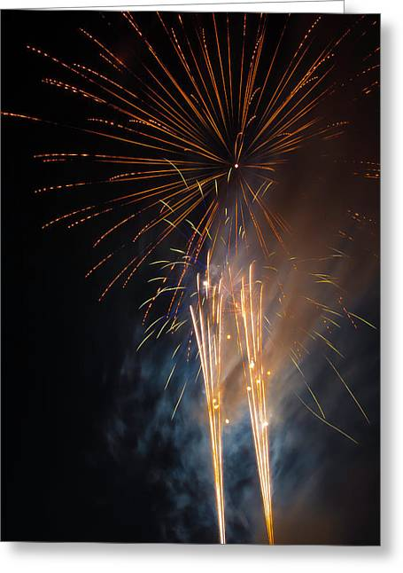 Bursting Colorful Fireworks Greeting Card by Garry Gay