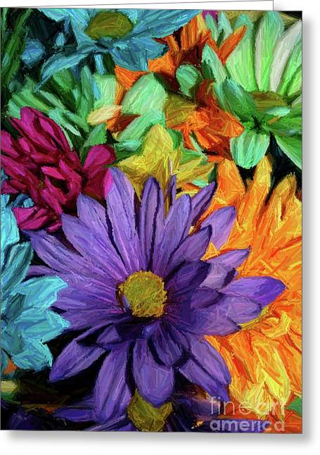 Lots Of Daisies Greeting Cards - Bursting Colors Greeting Card by John W Smith III