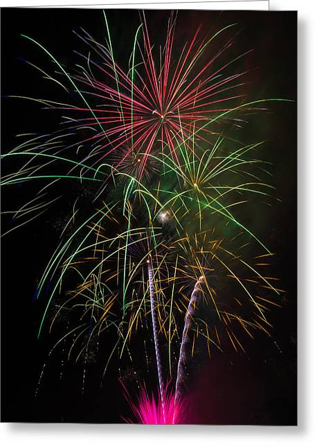 Bursting Fireworks Greeting Card by Garry Gay