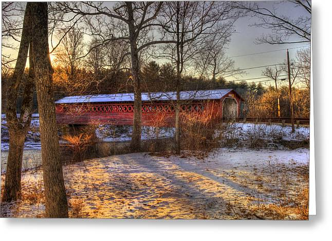New England Snow Scene Greeting Cards - Burt Henry Covered Bridge - Bennington Vermont Greeting Card by Joann Vitali