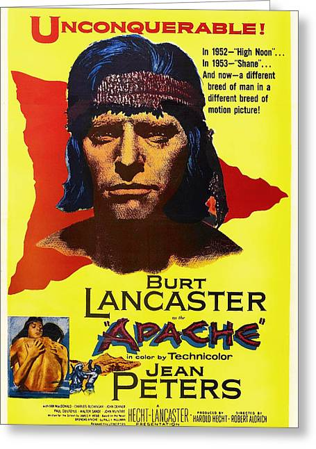 Indian Actor Greeting Cards - Burt Lancaster as the Apache 1954 Greeting Card by Mountain Dreams