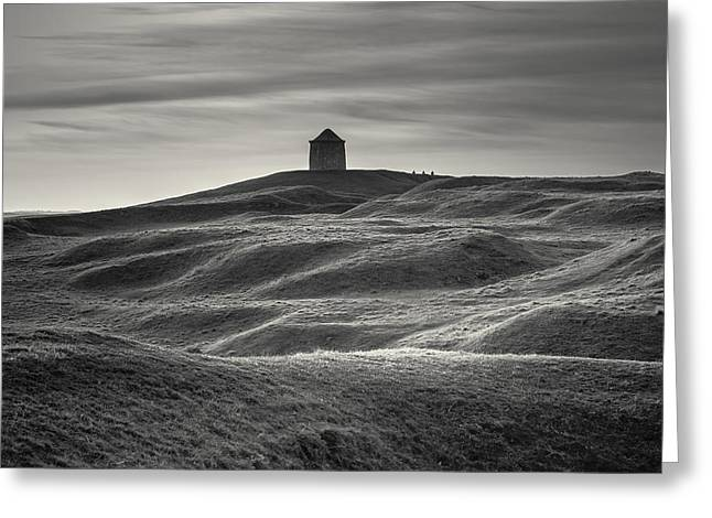 Burton Greeting Cards - Burton Dassett monochrome Greeting Card by Chris Fletcher
