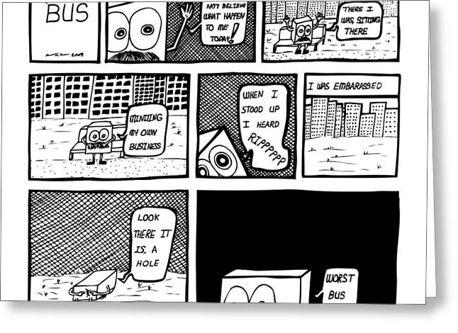 Bus Ride Greeting Cards - Bus Comic Greeting Card by Karl Addison