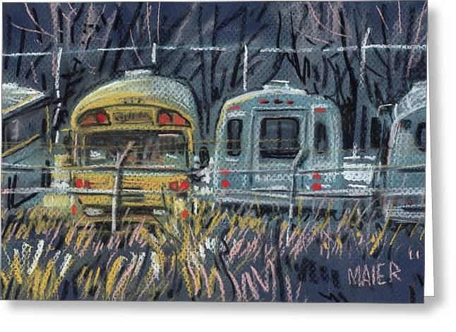 Bus Parking Greeting Card by Donald Maier