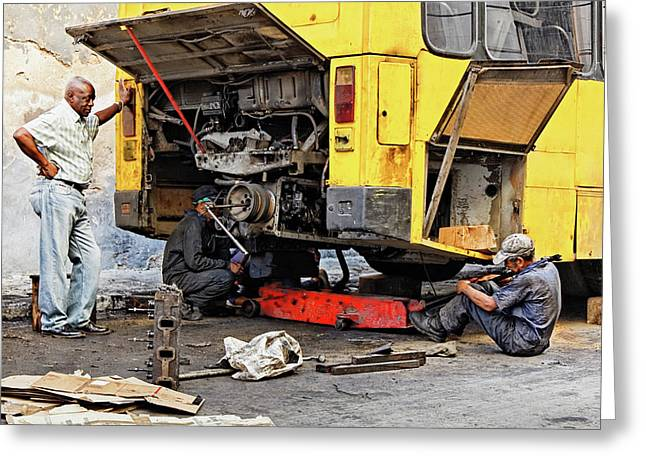 Cuban Greeting Cards - Bus Repairs Greeting Card by Dawn Currie