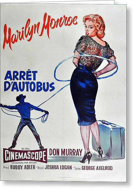 Busstop Greeting Cards - Bus Stop - Arret DAutobus - Marilyn Monroe Greeting Card by Nomad Art And  Design