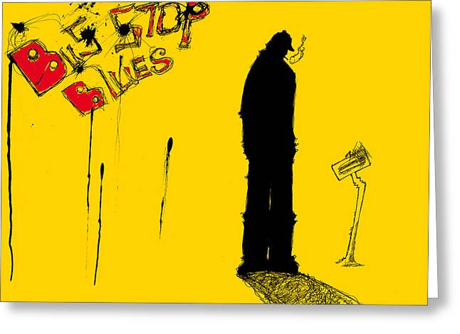 Bus Stop Greeting Cards - Bus Stop Blues Greeting Card by Michael De Alba