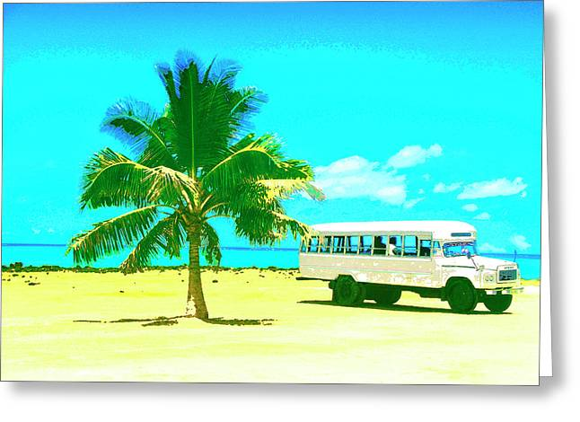 Lahaina Mixed Media Greeting Cards - Bus Stop in Paradise Greeting Card by Dominic Piperata