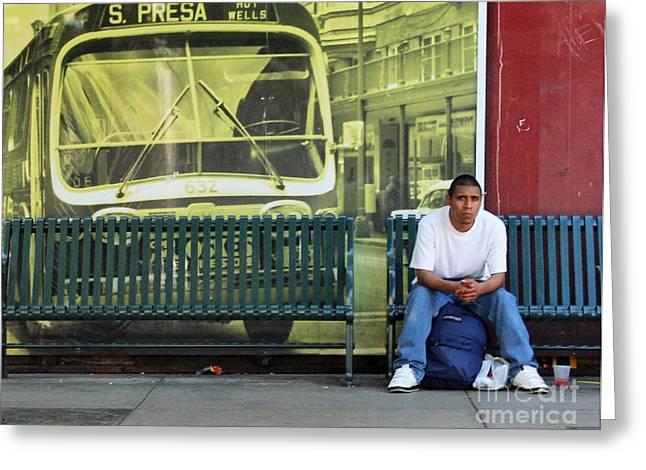 White T-shirt Greeting Cards - Bus Stop Greeting Card by Joe Jake Pratt