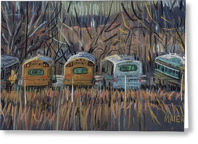 Bus Storage Greeting Card by Donald Maier
