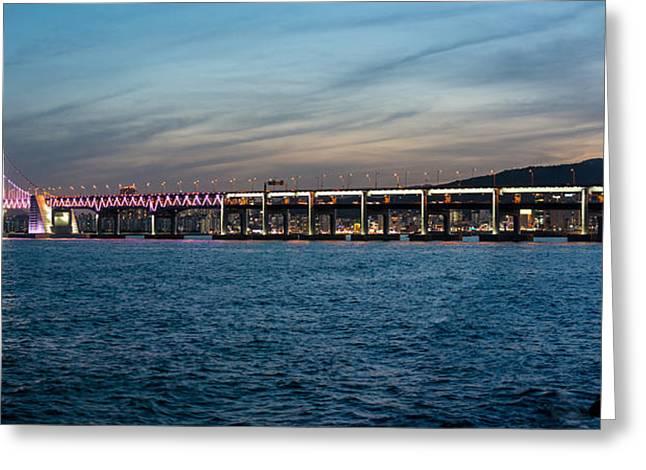Ocean Panorama Greeting Cards - Busans Diamond Bridge Panorama Greeting Card by Kabayanmark Images