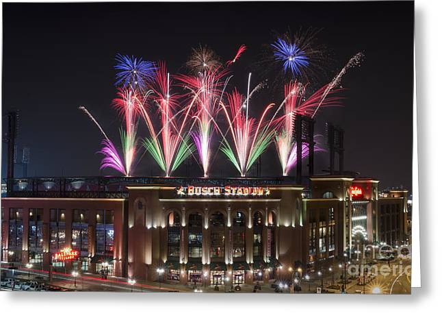 Andrea Silies Greeting Cards - Busch Stadium Greeting Card by Andrea Silies