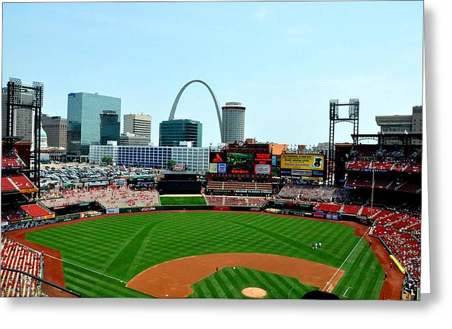Busch Greeting Cards - Busch Stadium Greeting Card by Colleen Taylor